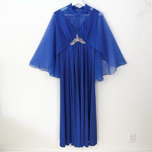 Vintage Gilberti Blue Hostess Caftan Cape Dress